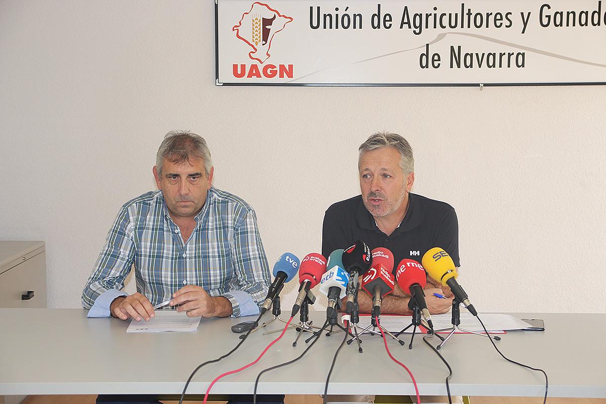 Luis Miguel Serrano eta Felix Bariain, UAGNko buruzagiak. ©UAGN