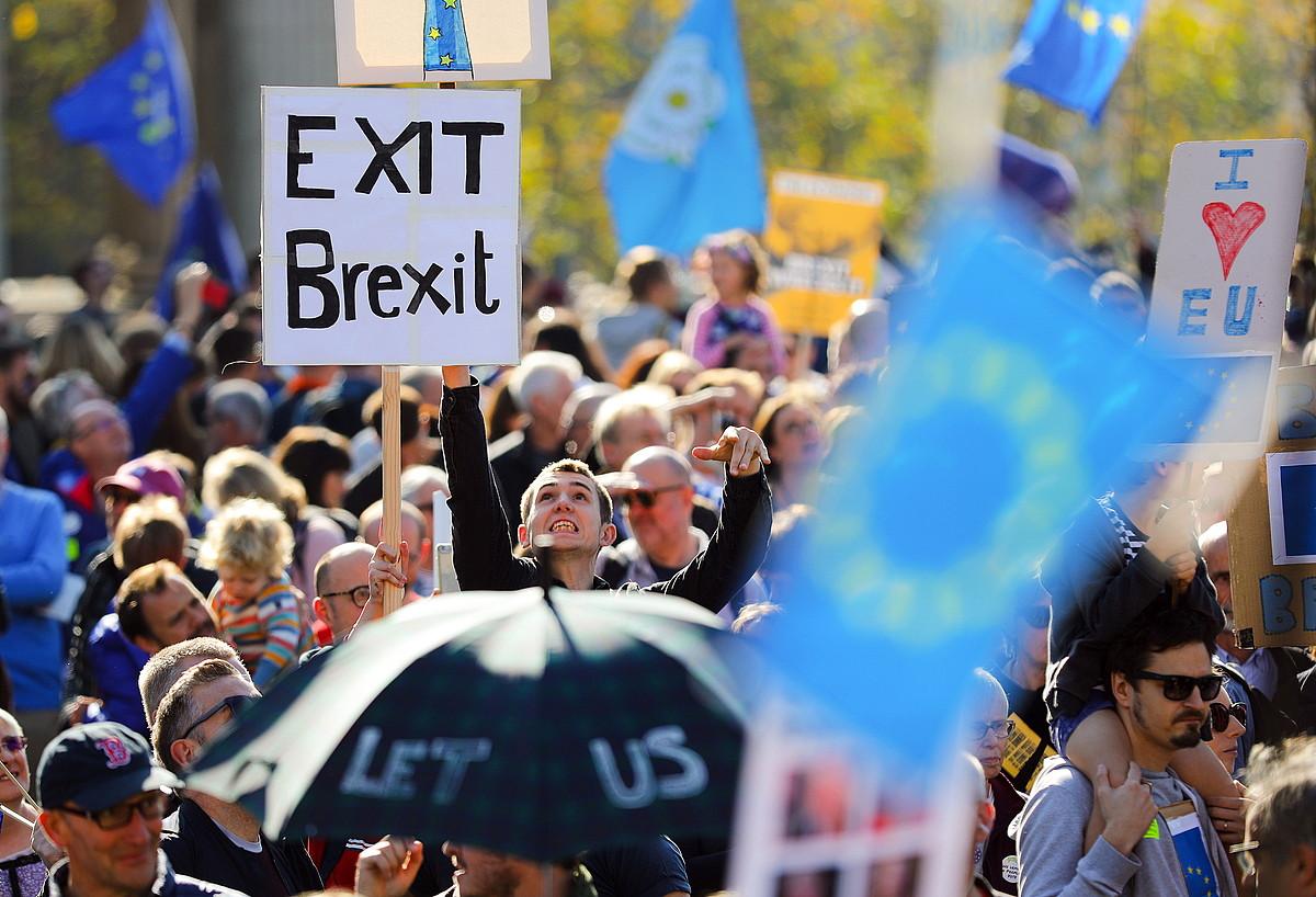 Erresuma Batuko Parlamenturako bidean <em>brexit</em>-aren aurkako afixak erakutsi zituzten manifestariek. &copy;VICKIE FLORES / EFE