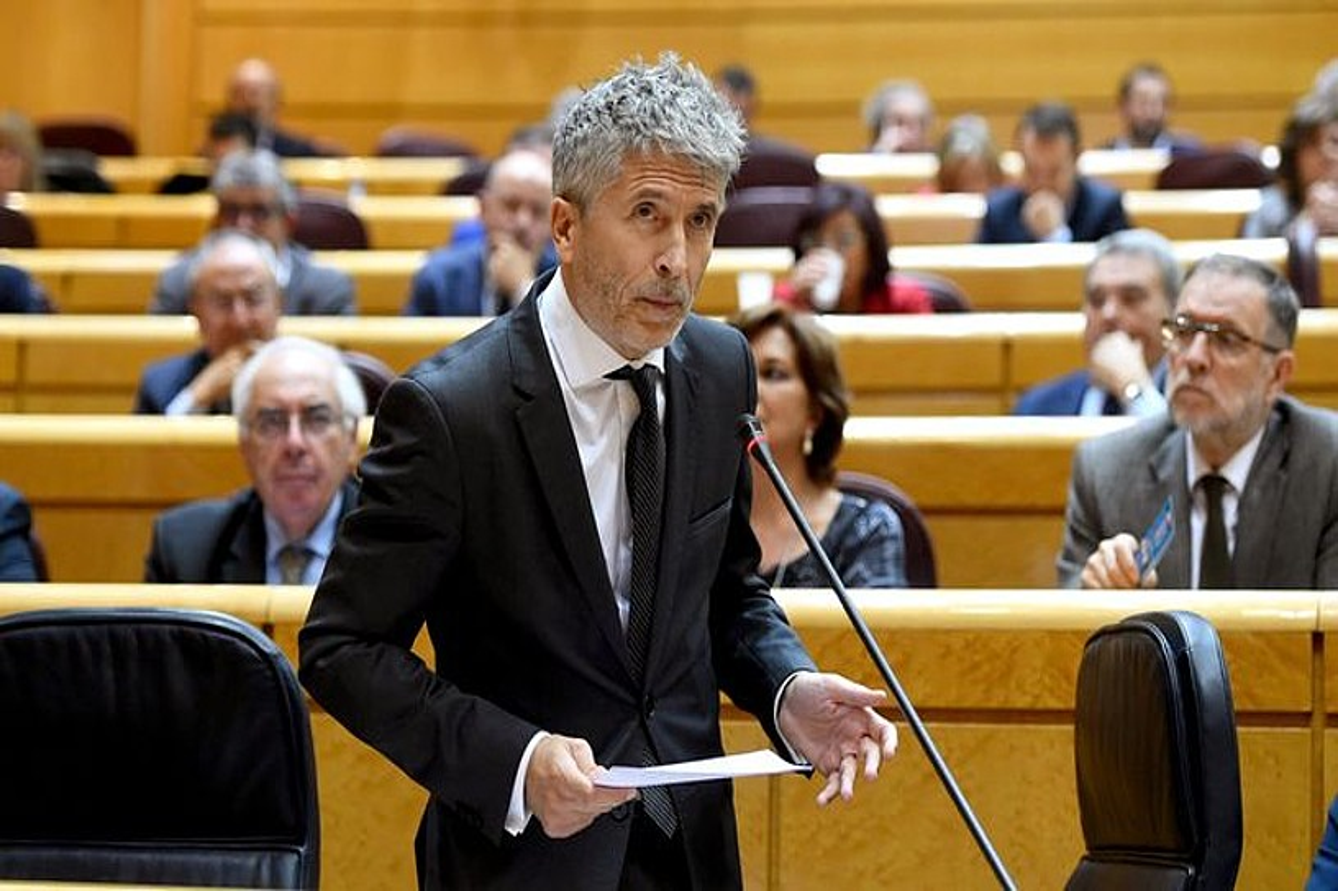Fernando Grande Marlaska Espainiako Barne ministroa, atzo, Senatuko kontrol saioan. / FERNANDO VILLAR / EFE