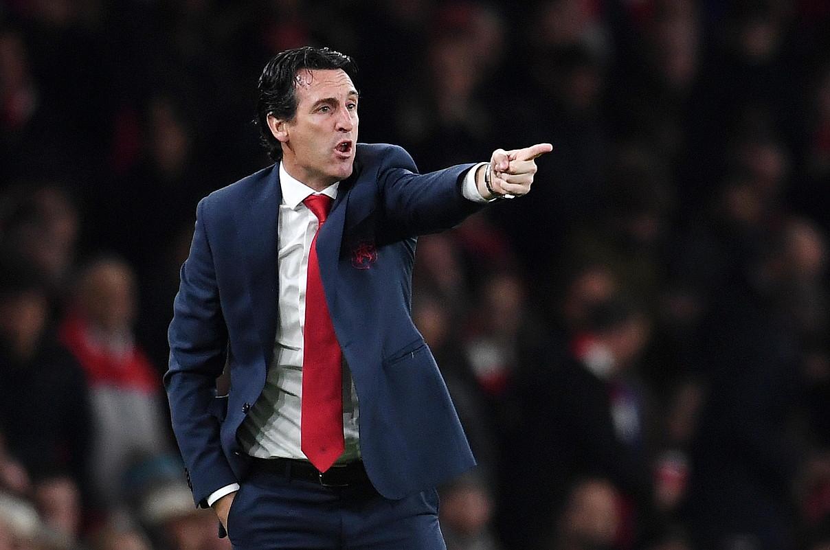 Unai Emery entrenatzaile hondarribiarra, joan den astelehenean, Arsenalek Leicester Cityren aurka jokatutako norgehiagokan. ©ANDY RAIN / EFE