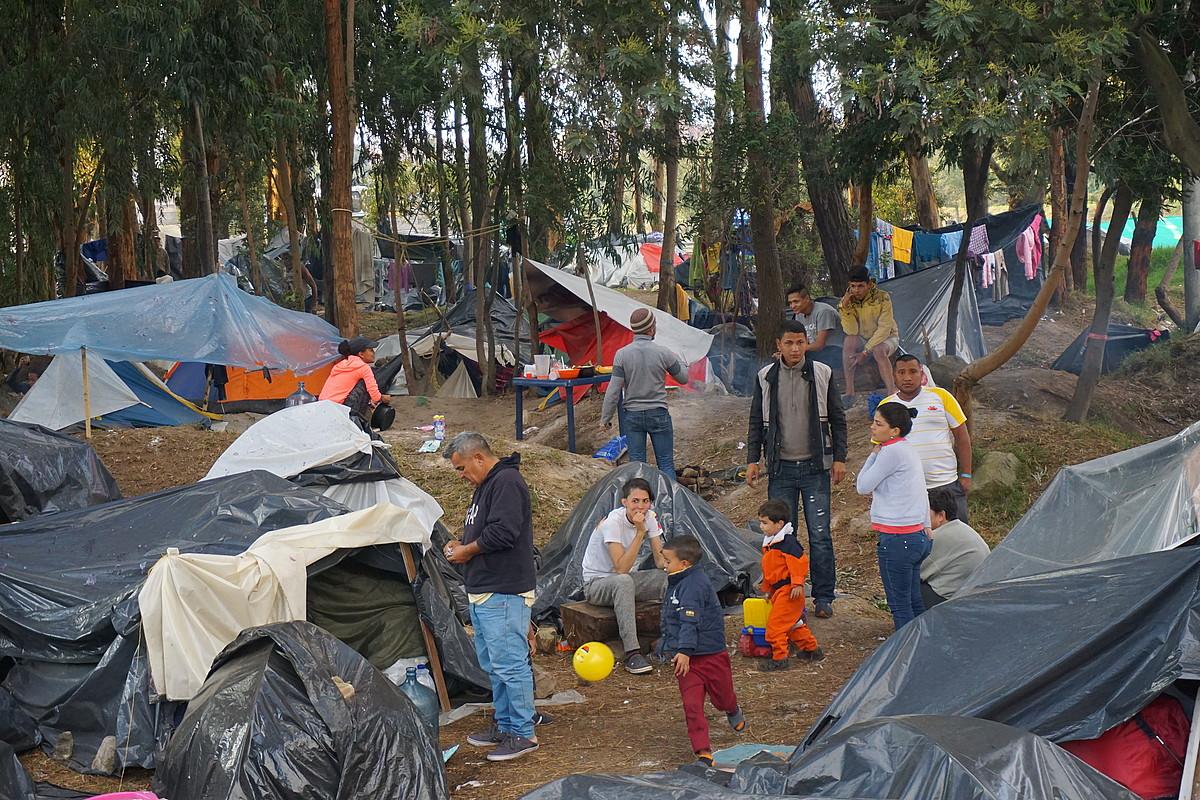Bogotako El Bosque (basoa) kanpamentuan ia 400 migratzaile venezuelar daude. ©JON ARTANO IZETA