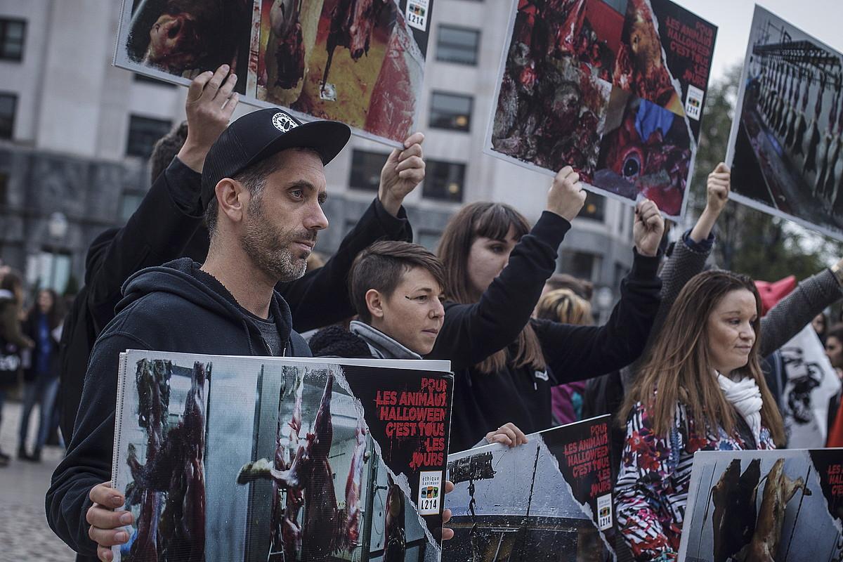 Euskal Herriko talde animalistek lehen manifestazio antiespezista egin zuten atzo elkarrekin, Bilbon.