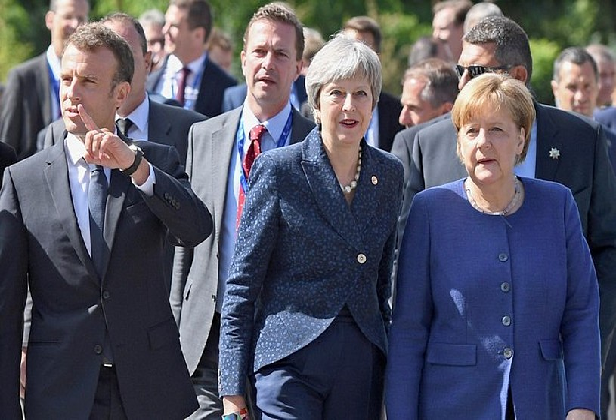 Emmanuel Macron, Theresa May eta Angela Merkel, Sofiako goi bileran, uda atarian. ©VASSIL DONEV /EFE