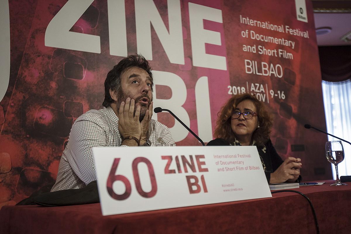 Mariano Llinas zinemagilea, atzo, Bilboko Arriaga antzokiko agerraldian. ©ARITZ LOIOLA / FOKU