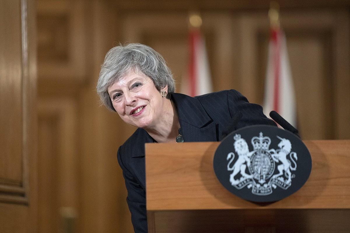 Theresa May, prentsaurrekoan, ostegunean, Londresen. ©DAVID LEVENSON / EFE