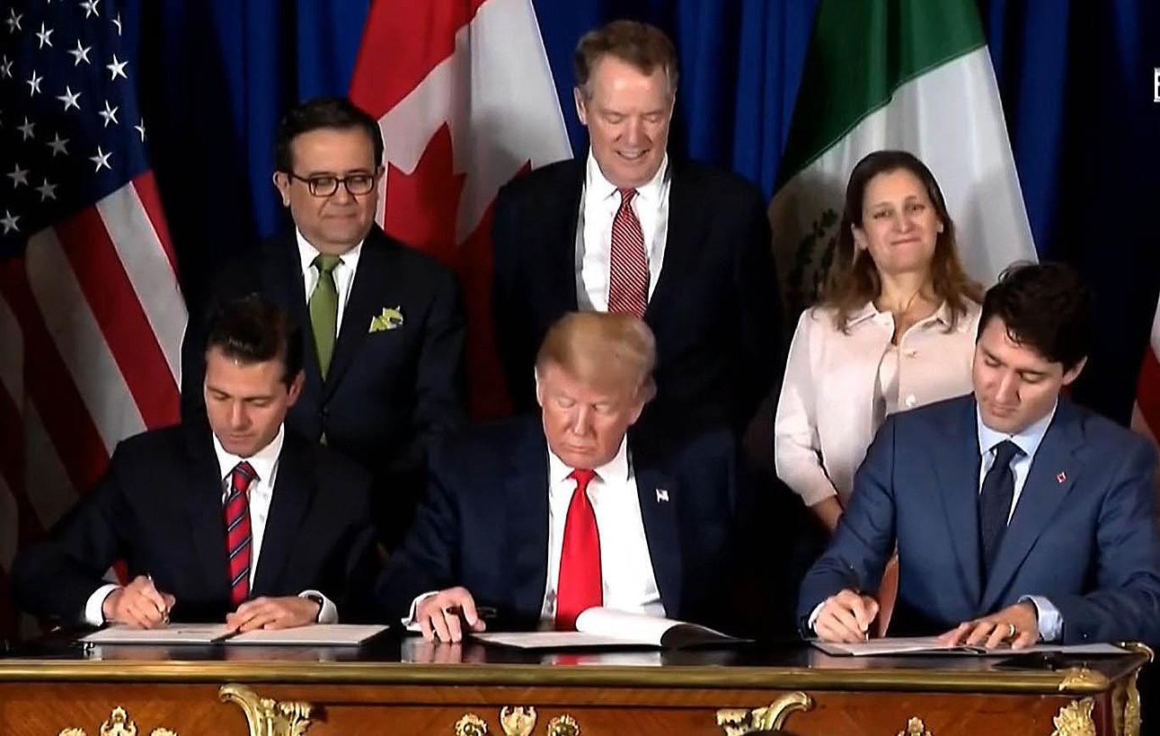 Peña Nieto, Trump eta Trudeau, atzo, Buenos Airesen.