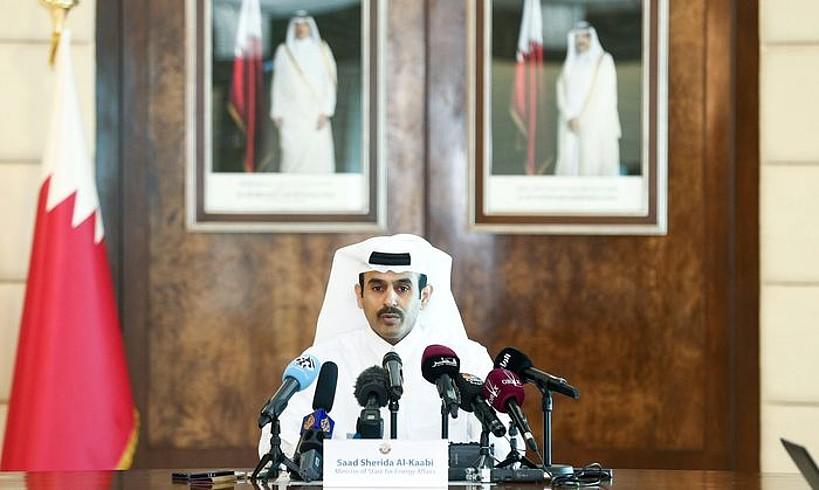 Saad al-Kaabi Qatarreko Energia ministroa, atzo, Dohan egindako prentsaurrekoan.