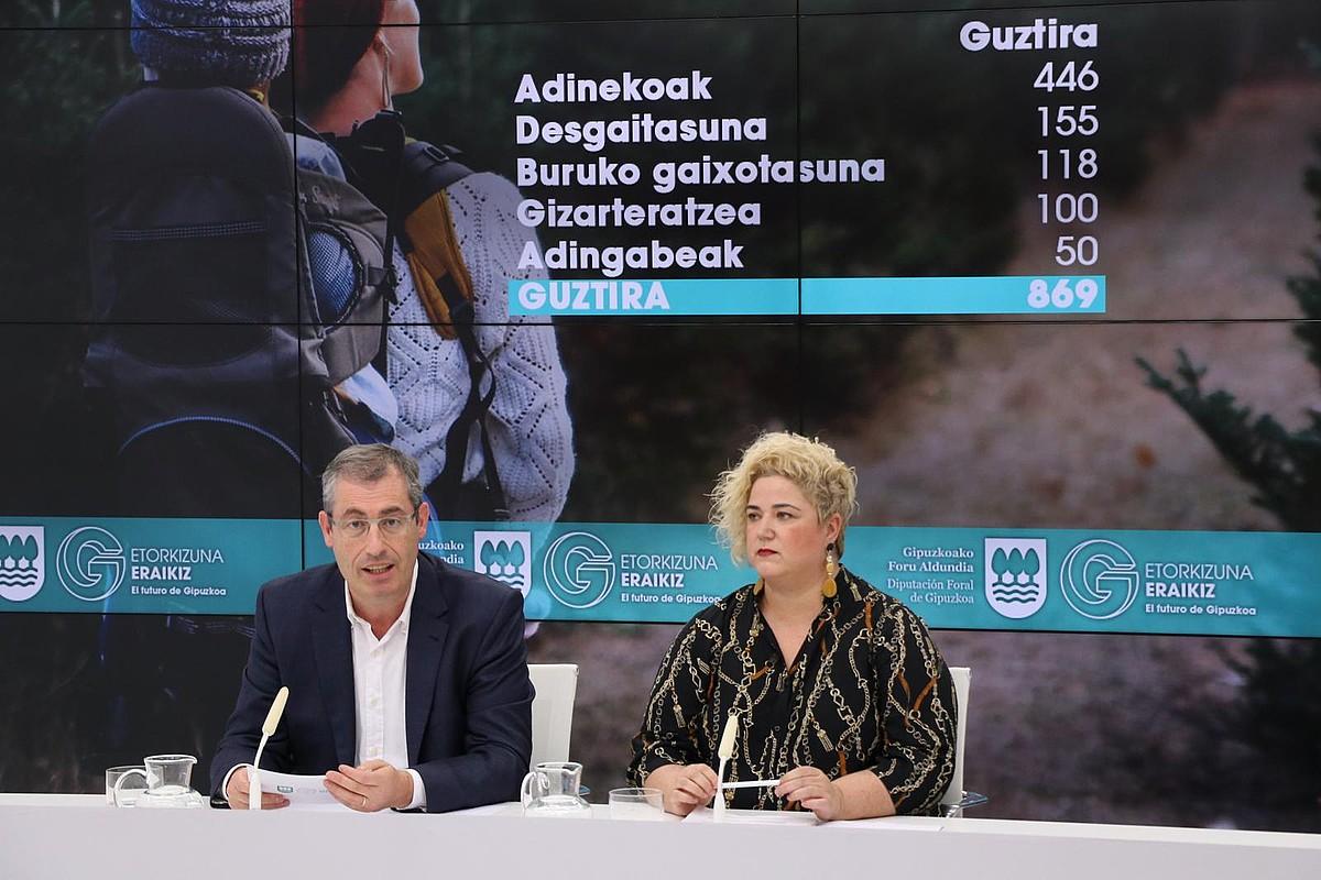 Markel Olano diputatu nagusia eta Maite Peña Gizarte Politikakoa, atzo.