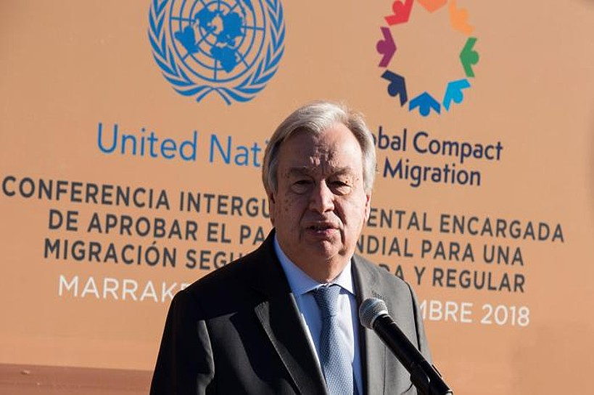Antonio Guterres NBEko idazkari nagusia, atzo, gobernuen arteko konferentzian, Marrakexen, Marokon. ©JALAL MORDICHI/EFE