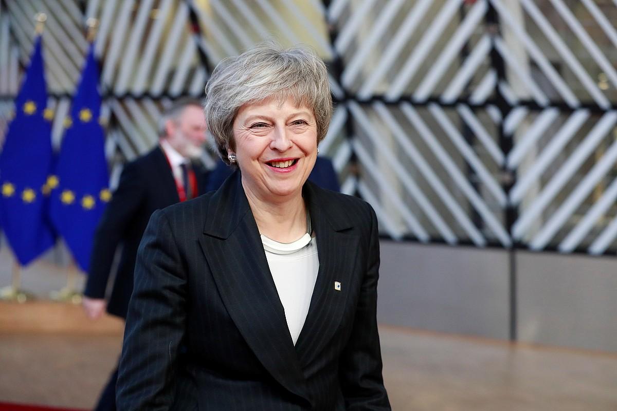 Theresa May Erresuma Batuko lehen ministroa Europar Kontseiluaren bilkurara iristen, atzo, Bruselan. ©STEPHANIE LECOCQ / EFE