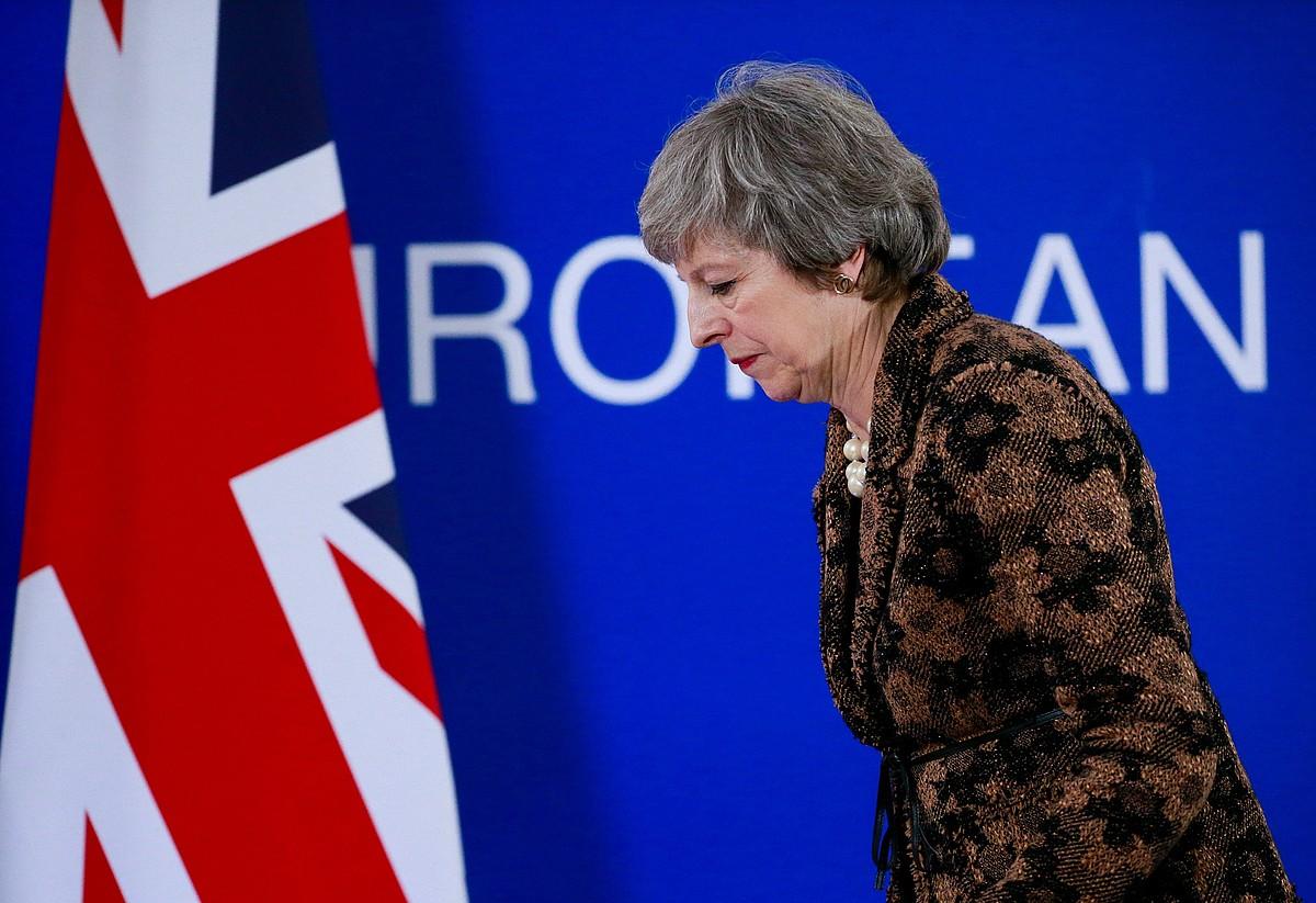 Theresa May Erresuma Batuko lehen ministroa, atzo, Bruselan. ©OLIVIER HOSLET/EFE