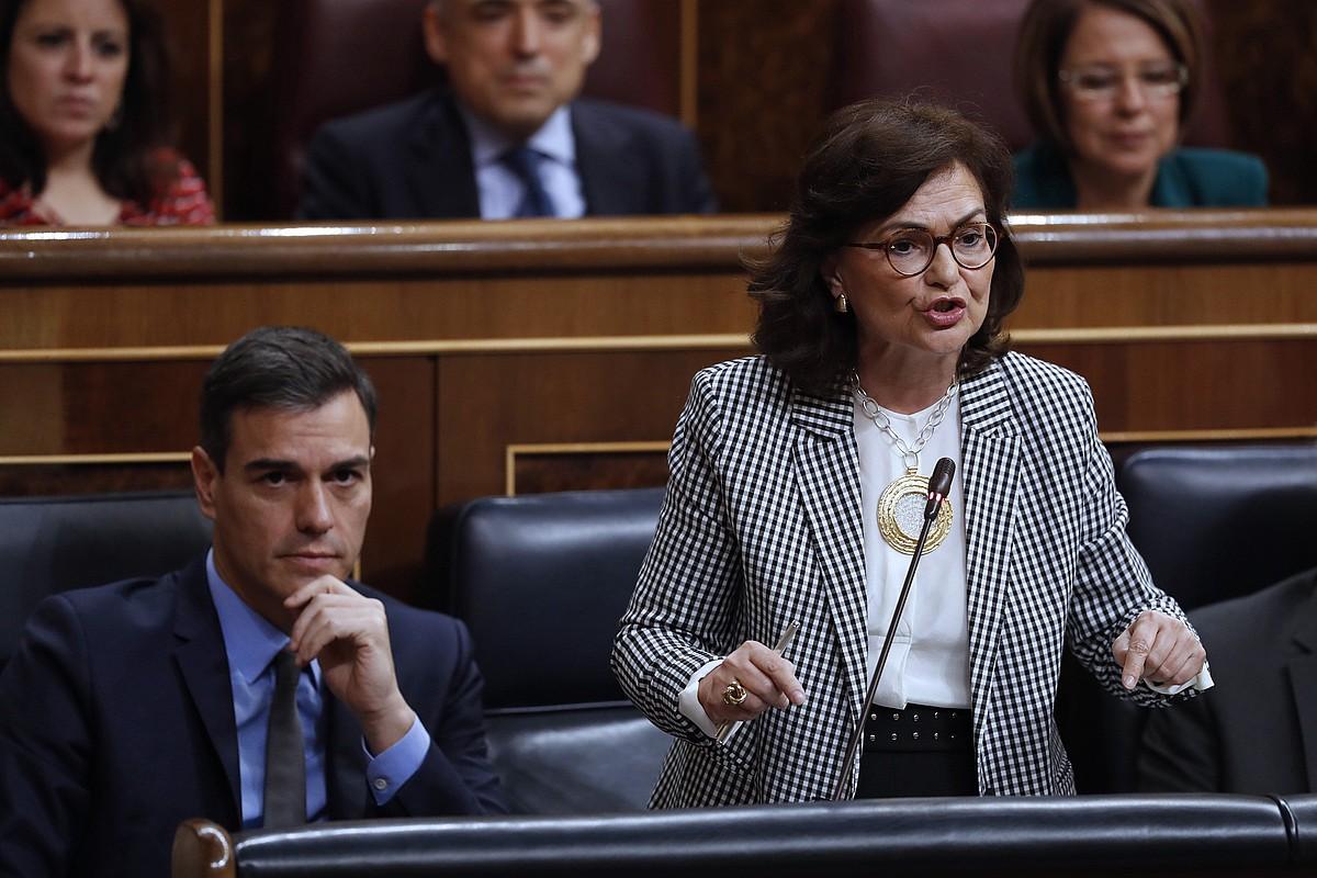 Carmen Calvo, gobernuko presidenteordea, atzo, Kongresuan. ©JAVIER LIZON / EFE