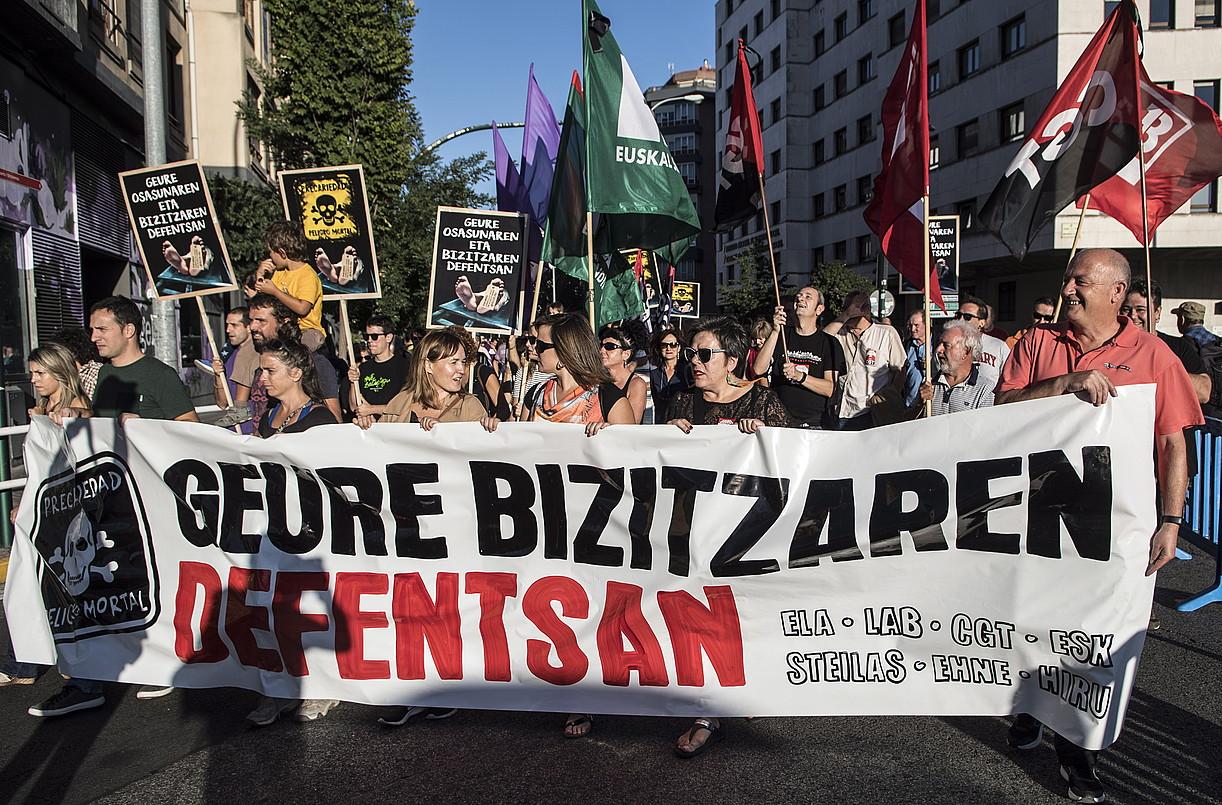 Gehiengo sindikalak lan istripuen aurkako manifestazioa egin zuen irailean, Iruñean. ©JAGOBA MANTEROLA / FOKU