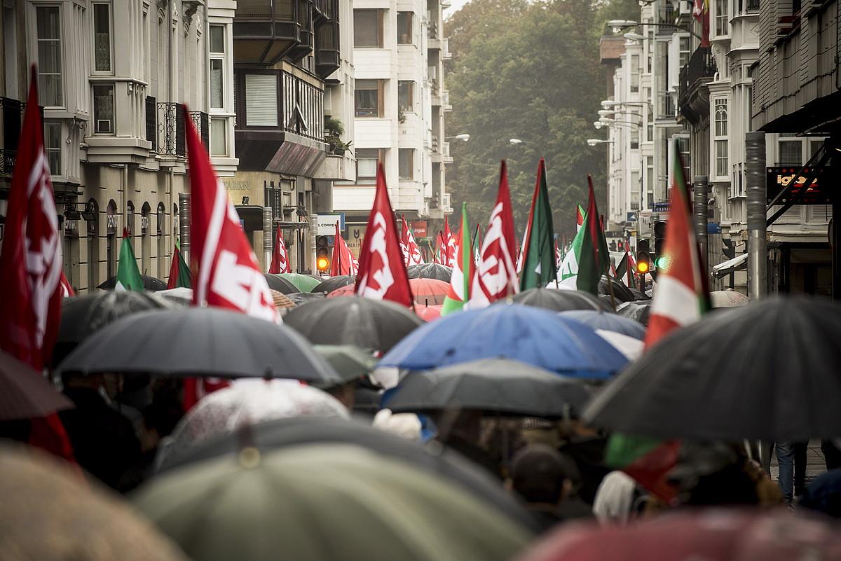 ELA eta LABen manifestazio bat euskal esparruaren alde. ©J. FONTANEDA / FOKU