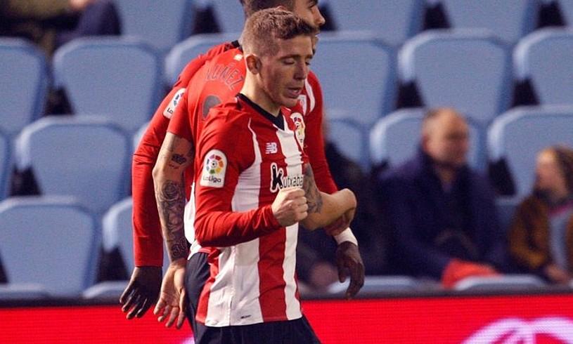 Iker Muniain astelehenean Celtari sartutako gola ospatzen. ©SALVADOR SAS / EFE