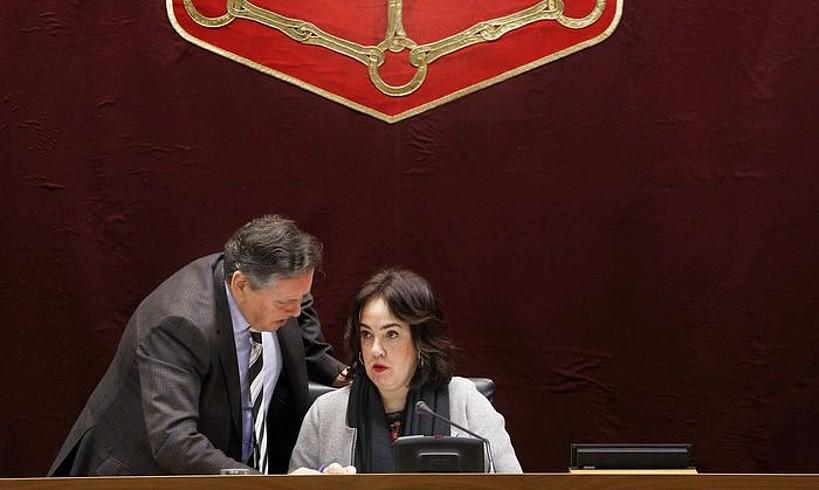 Ainhoa Aznarez Nafarroako Parlamentuko presidentea, atzo.