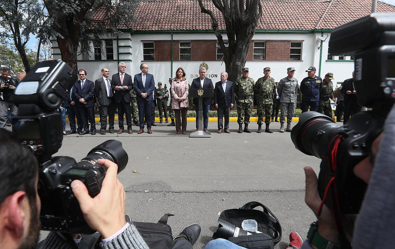 Ivan Duque Kolonbiako presidentea, atzo emandako prentsaurrekoan, Bogotan. ©MAURICIO DUEÑAS CASTAÑEDA / EFE