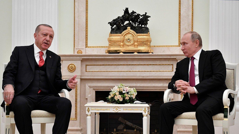 Recep Tayyip Erdogan Turkiako presidentea eta Vladimir Putin Errusiakoa, atzo, Moskun. ©ALEXANDER NEMENOV / EFE