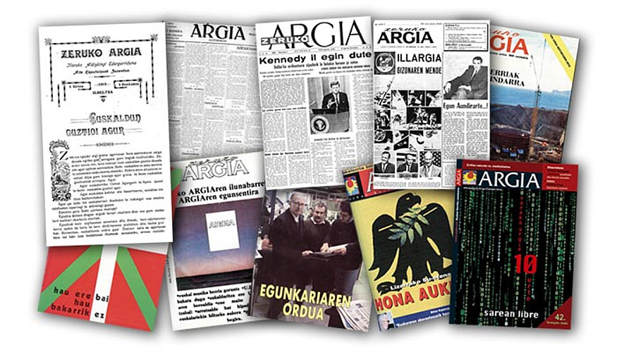 <em>Argia</em>-ren ehun urteko historia, hamar azaletan. &copy;ARGIA