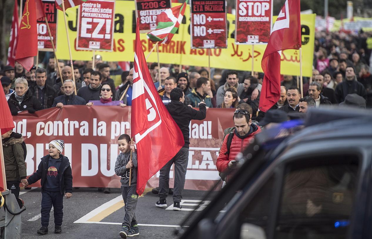 LABek deitutako manifestazioa, atzo, Iruñean. ©JAGOBA MANTEROLA / FOKU