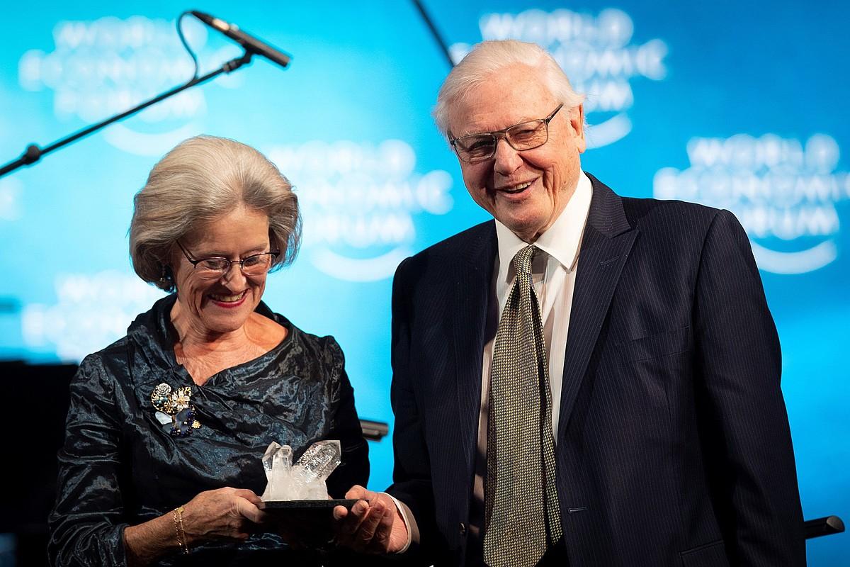 Attenborough Crystal saria jasotzen Schwab Fundazioko Hilde Schwaben eskutik, Davosen (Suitza).
