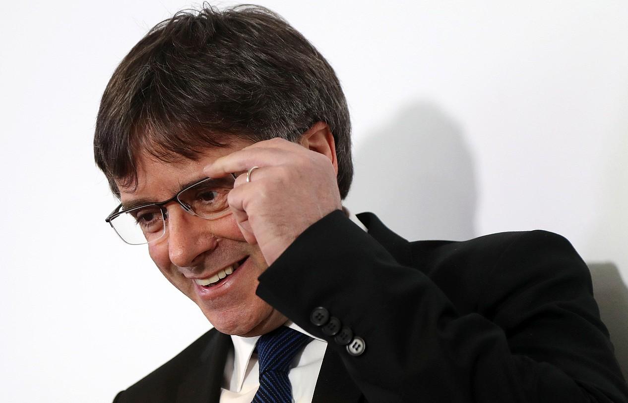 Carles Puigdemont, Kataluniako Gobernuaren Berlingo egoitzan, atzo. / FELIPE TRUEBA / EFE