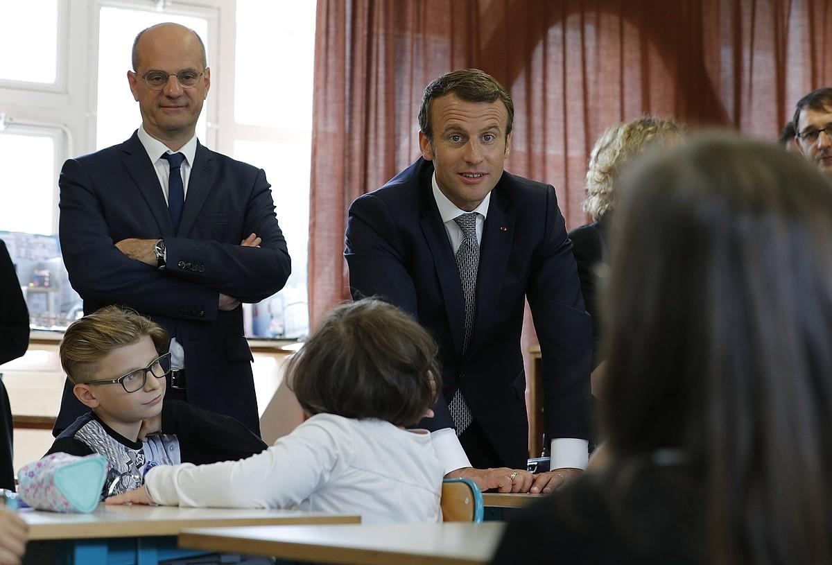 Blanquer ministroa eta Macron Frantziako presidentea. ©PHILIPPE WOJAZER / EFE