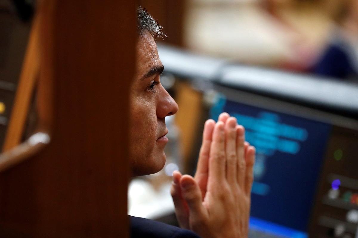 Pedro Sanchez Espainiako presidentea, atzo, Kongresuan aurrekontuen lege proiektuaz izan zuten eztabaidan. ©CHEMA MOYA / EFE