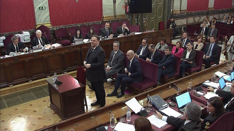 Oriol Junqueras Kataluniako presidenteorde kargugabetua, atzo, Auzitegi Gorenean. ©EFE