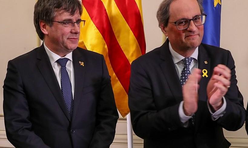 <b>Carles Puigdemont eta Quim Torra, atzo, Bruselan.</b> &copy;STEPHANIE LECOCQ / EFE