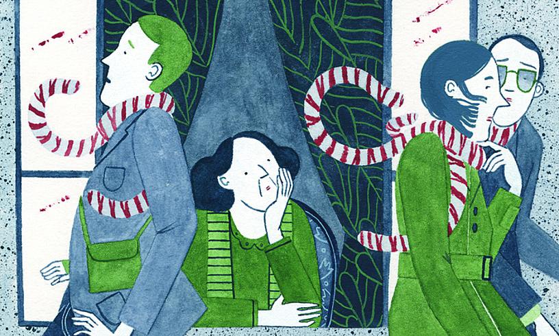 <em>Tigre batekin bizi</em> poesia liburuko ilustrazio bat.