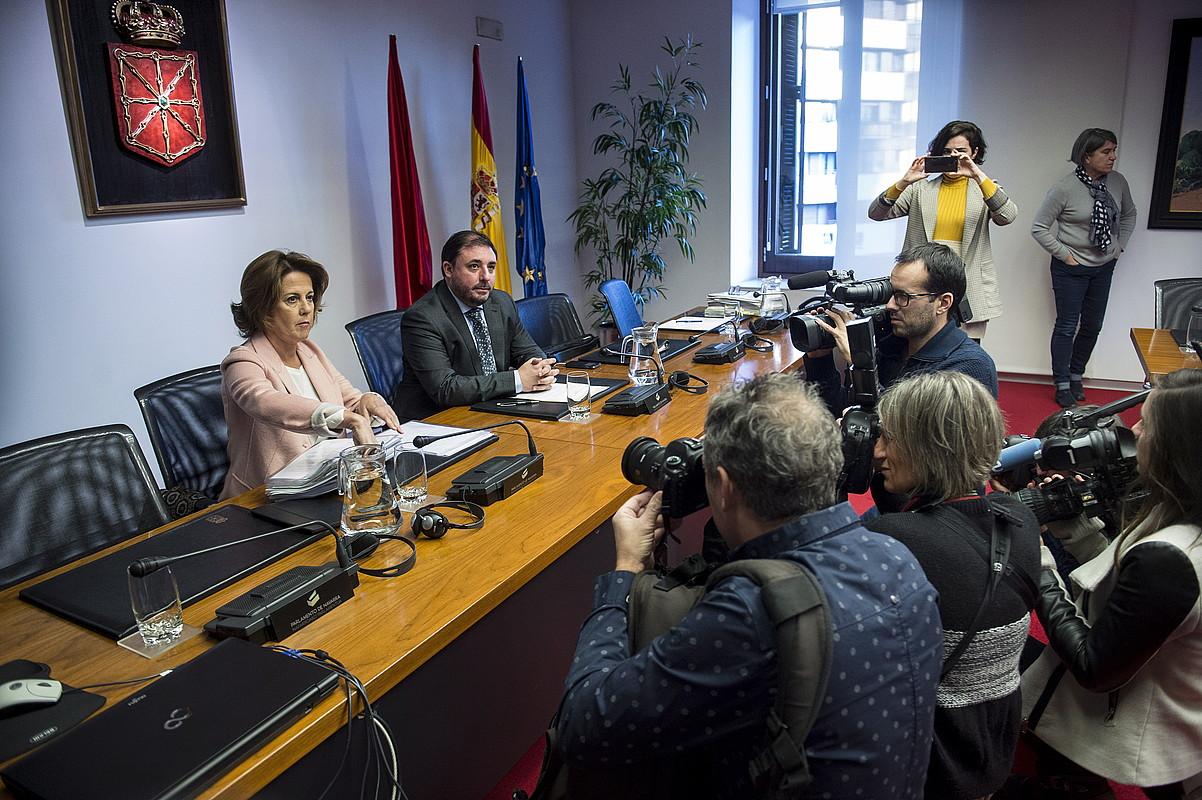 Yolanda Barcina, CANeko kontrol batzordeko presidentea, urtarrilaren 16an izan zen parlamentuan. ©I. URIZ / FOKU
