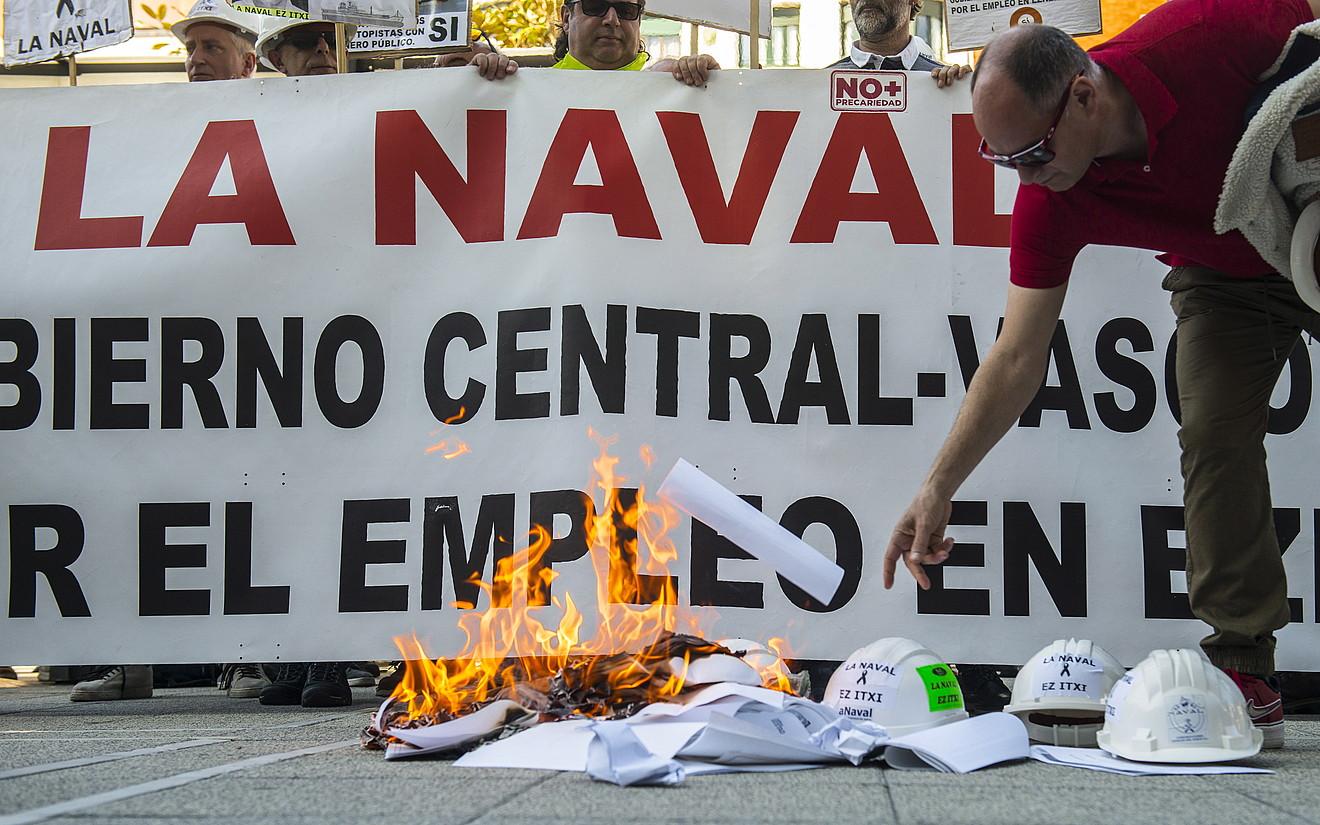 Sestaoko Naval ontziolako langileen manifestazioa, atzo, Bilbon. ©MARISOL RAMIREZ / FOKU