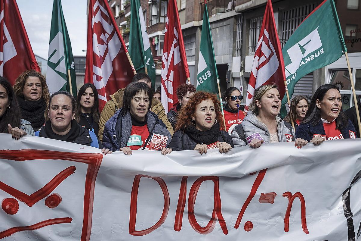 Diako langileen protesta, atzo, Bilbon. ©ARITZ LOIOLA / FOKU
