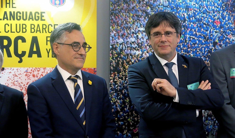 Carles Puigdemont Generalitateko presidente ohia eta Ramon Tremosa eurodiputatua, joan den astean, Bruselan. ©EFE