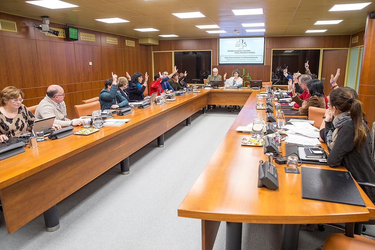 Eusko Legebiltzarreko Giza Eskubideen Batzordeko kideak, atzoko bozketa batean. ©DAVID AGUILAR / EFE