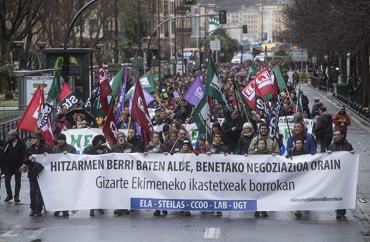Kristau Eskolako eta IZEAko langileen manifestazioa, joan den urtarrilaren 25ean, Donostian.