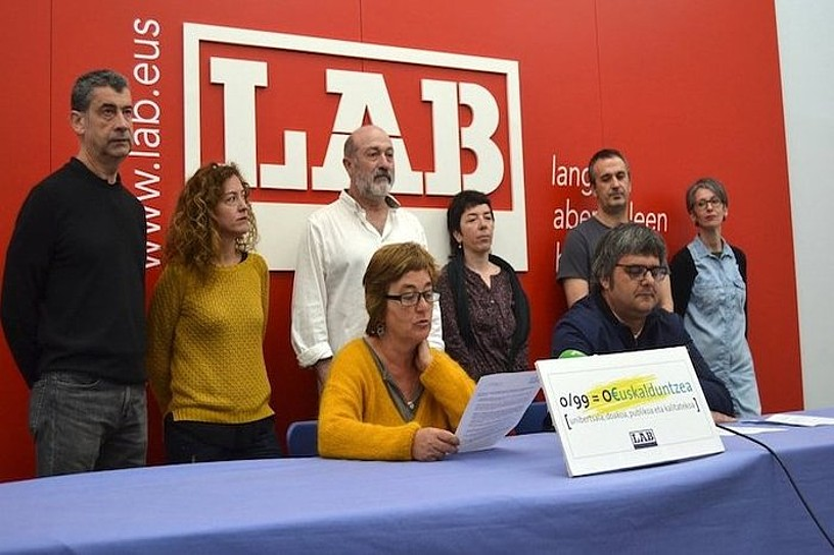 LAB sindikatuak atzo egindako agerraldia. ©BERRIA