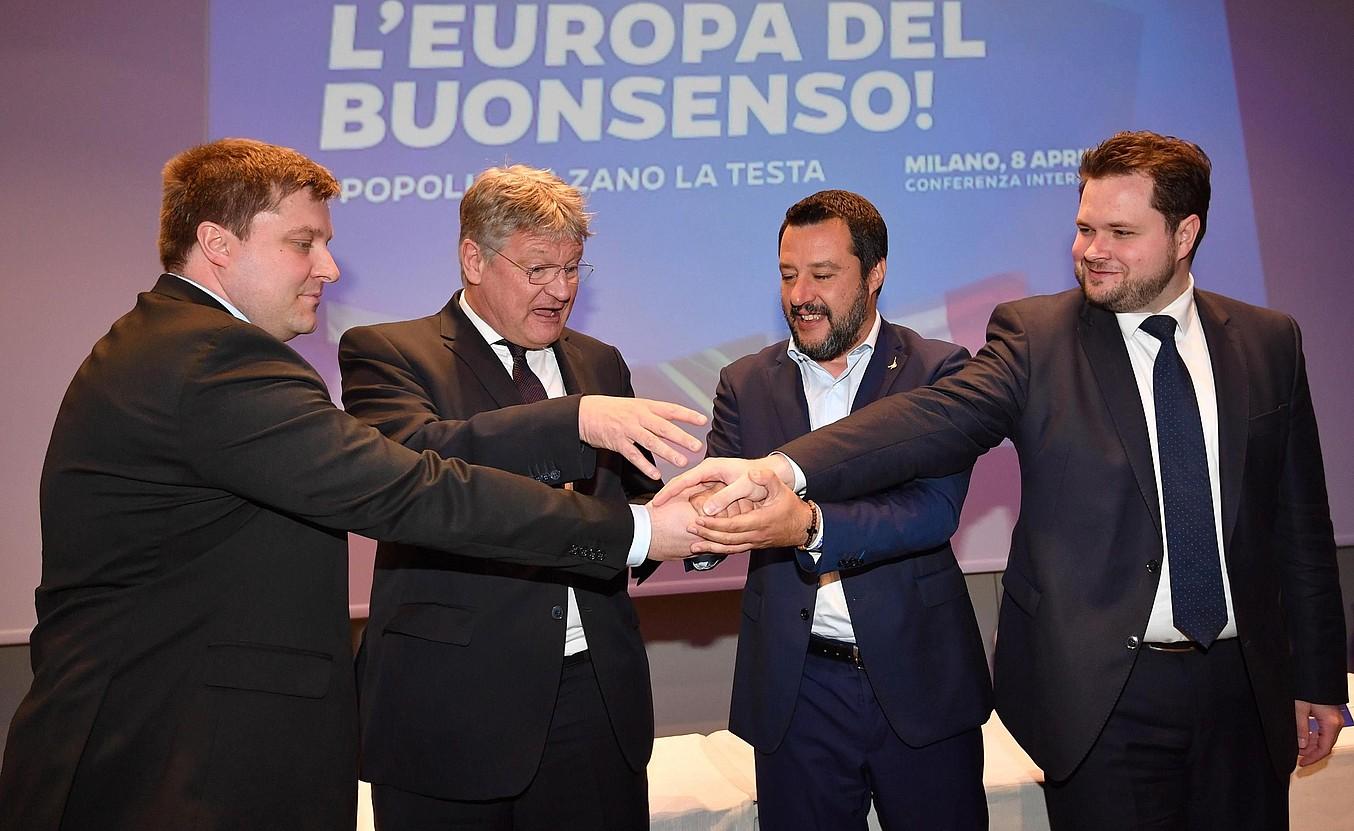 Kotro, Meuthen, Salvini eta Vistisen, atzoko prentsaurrekoan. ©DANIEL DAL ZENNARO / EFE