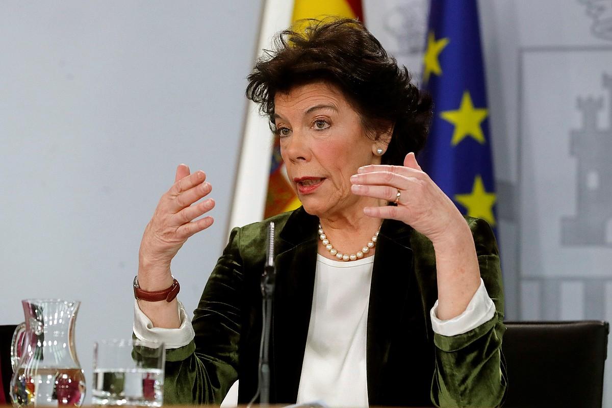 Isabel Zelaa Espainiako Gobernuko bozeramailea, atzo. ©JUAN CARLOS HIDALGO / EFE