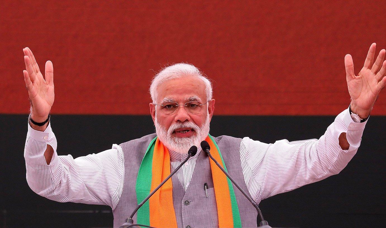 Narendra Modi Indiako jarduneko lehen ministroa eta BJP alderdiaren hautagaia, iragan astean, hauteskunde programa aurkeztu zuenean. ©HARISH TYAGI / EFE