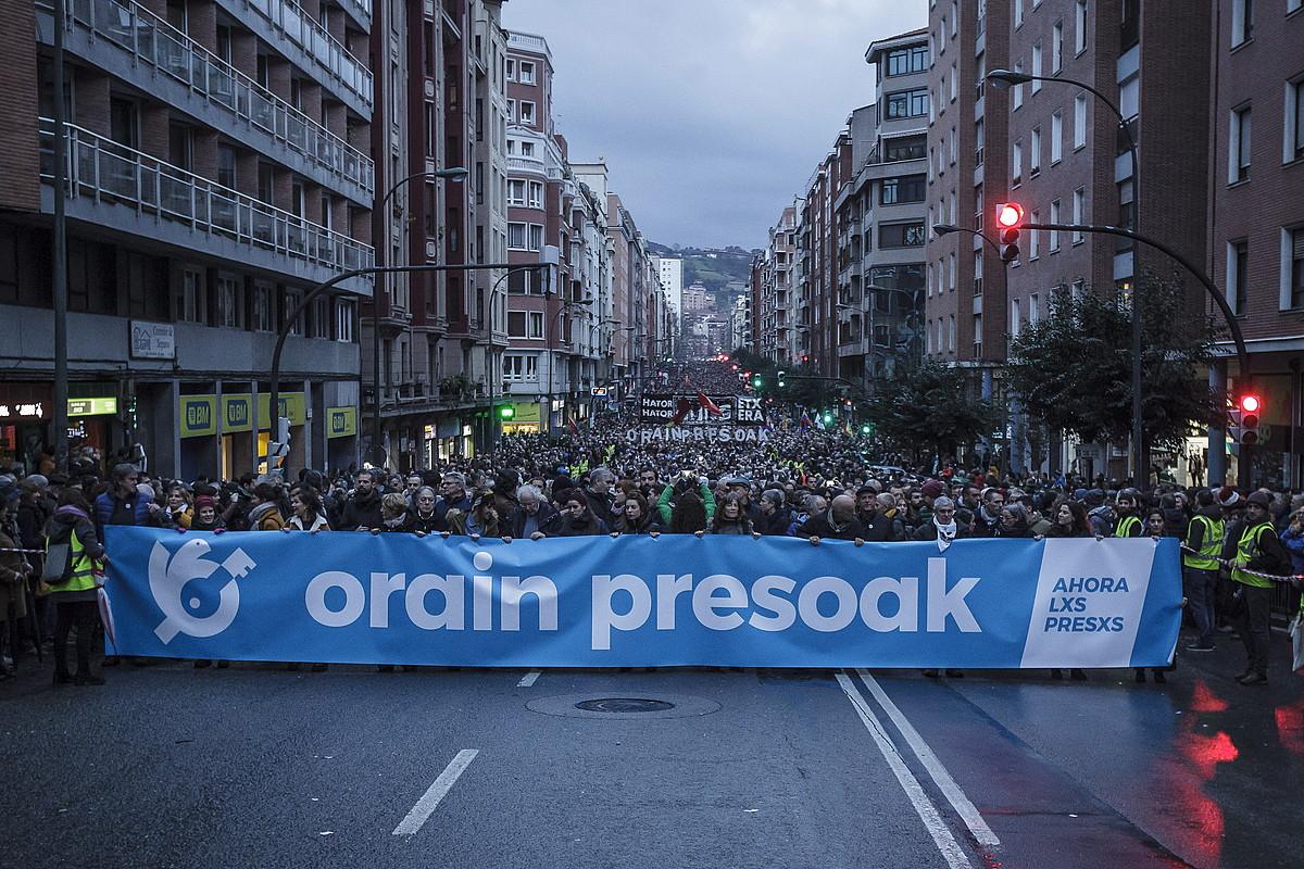 <em>Orain presoak</em> manifestazioa, joan den urtarrilaren 12an, Bilbon.