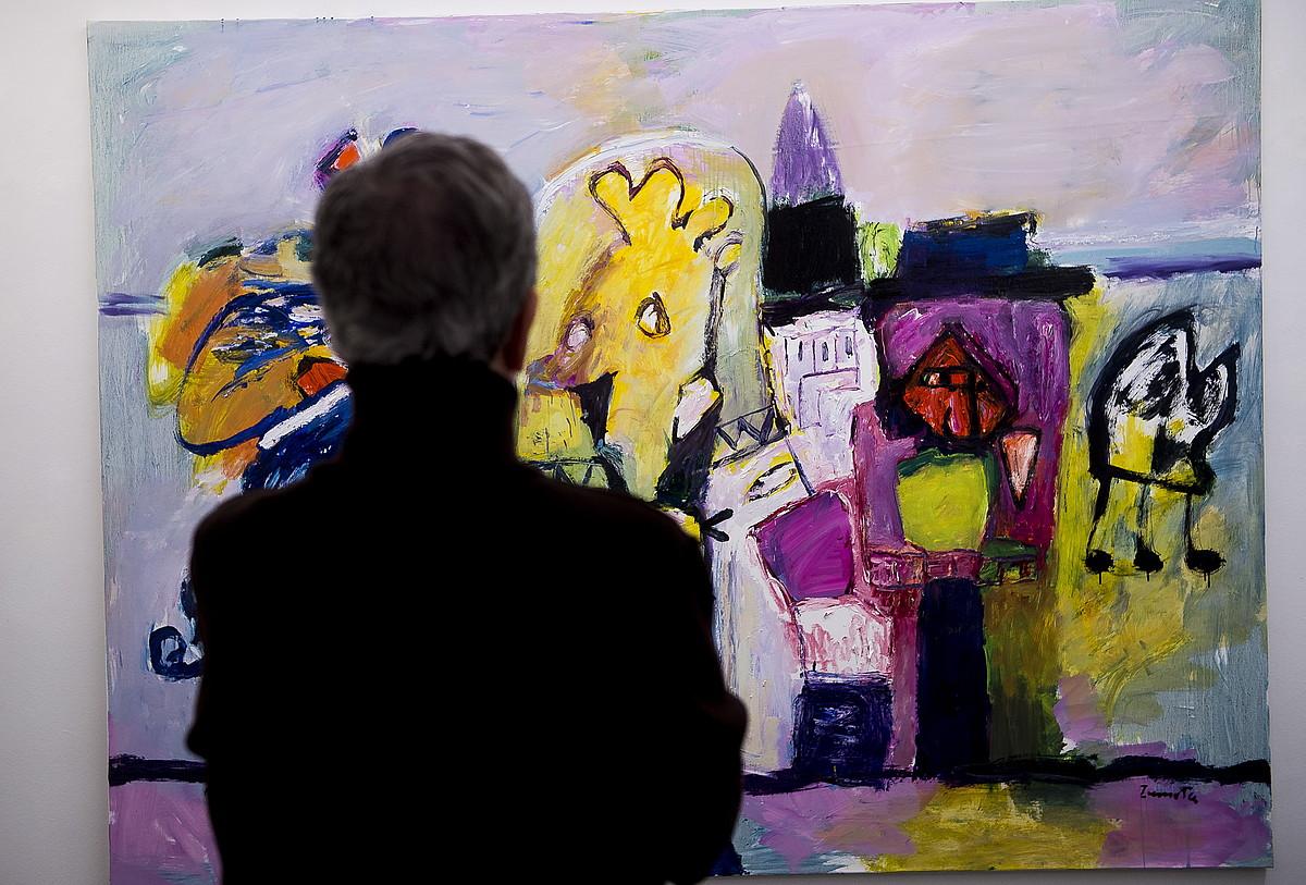 80 urte betetzen ditu Zumetak gaur, eta Bilboko Lumbreras galeriako arduradunek omenaldia egin nahi izan diote erakusketarekin. ©LUIS JAUREGIALTZO / FOKU