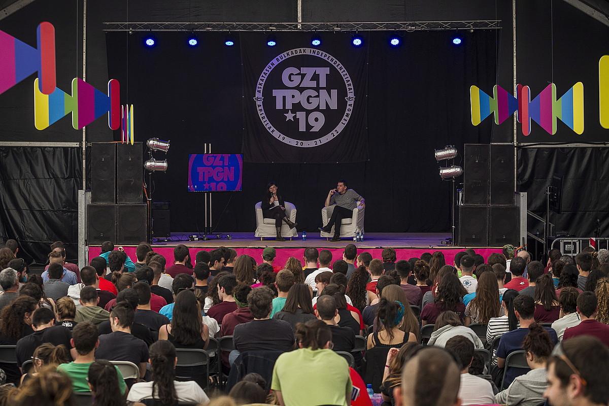 Lemoako Gazte Topagunean izan zen Arnaldo Otegi EH Bilduko koordinatzaile nagusia solasaldi batean. ©ARITZ LOIOLA / FOKU