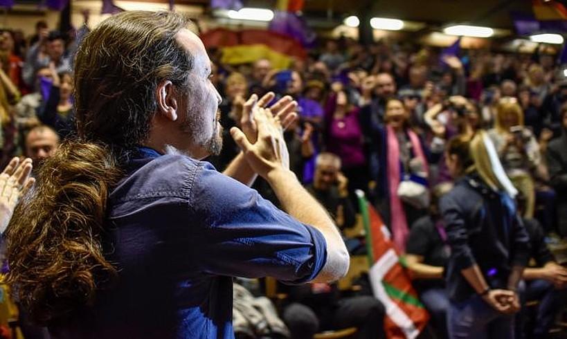 Pablo Iglesias, Eibarko mitinean, apirilaren 14an. / MIGUEL TOÑA / EFE