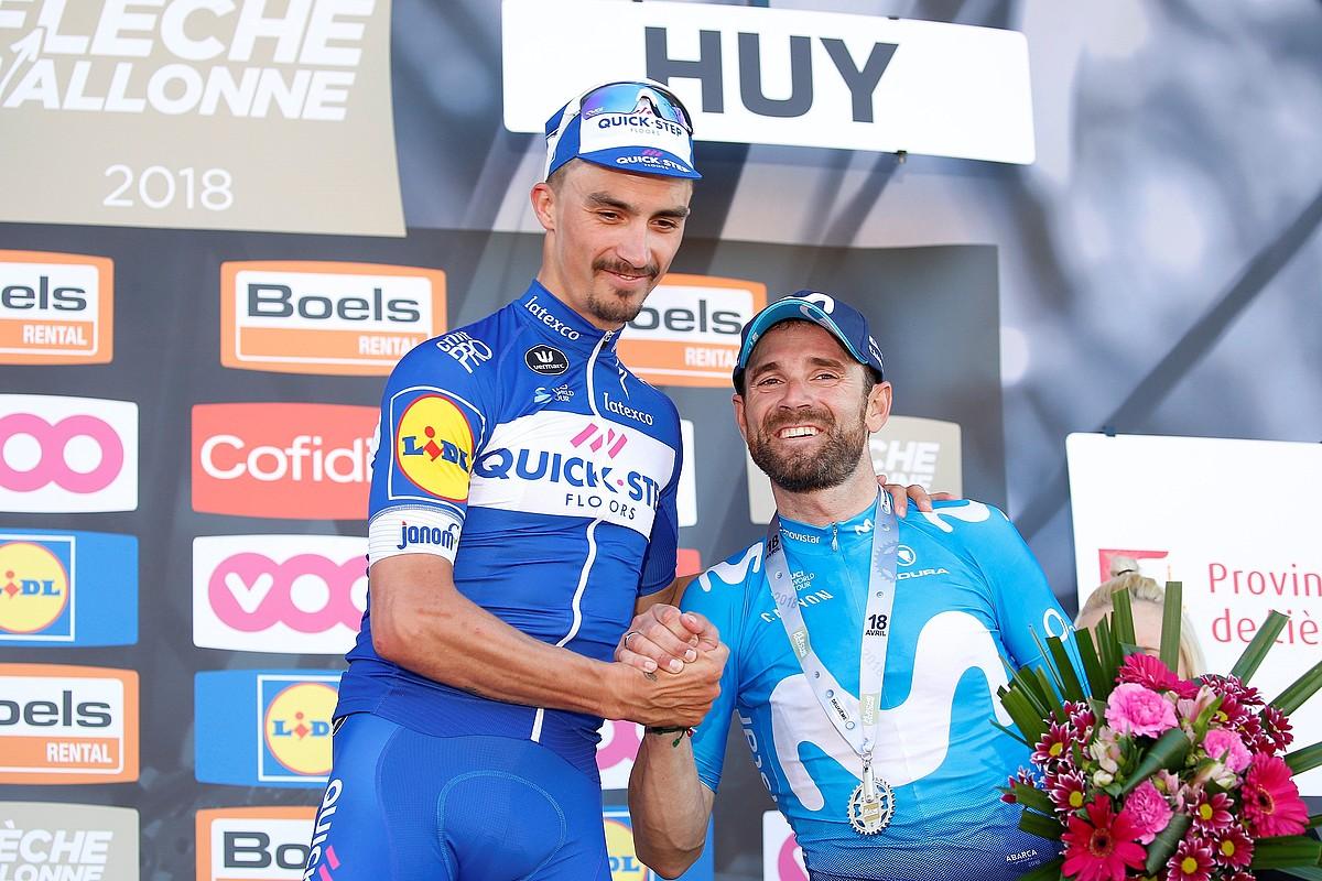 Julian Alaphilippe eta Alejandro Valverde, iaz, podiumean. ©JULIEN WARNAND / EFE