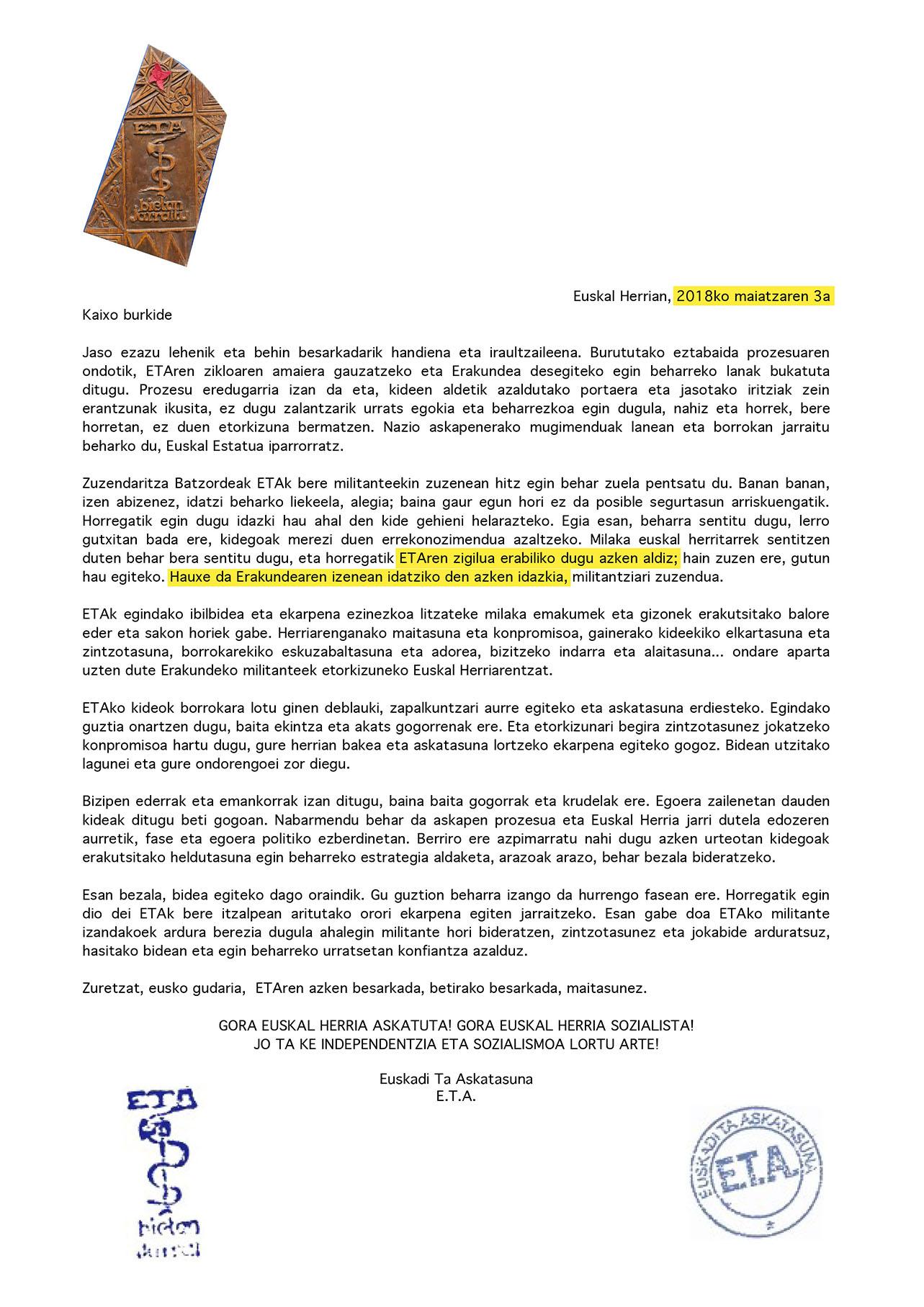 ETAk bere kideei 2018ko maiatzaren 3ko datarekin helarazitako idatzia da goikoa, orain arte publikoki argitaratu gabea. Berriak azpimarratu ditu hitz batzuk.