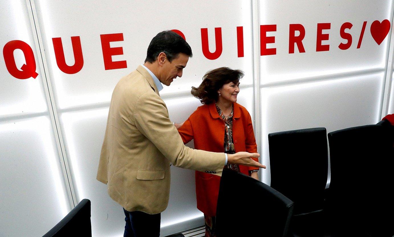 Pedro Sanchez, hauteskunde osteko PSOEren lehen bileran.