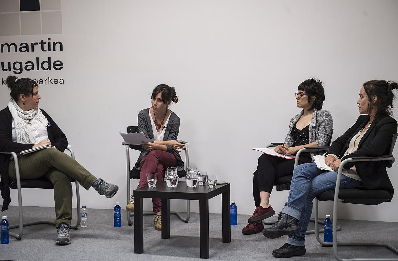 Maite Asensio Lozano, Samara Velte, Amaia Zufia eta Zaloa Basabe, atzo. ©JAGOBA MANTEROLA / FOKU