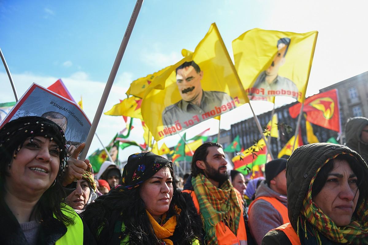 Ocalanen eskubideen aldeko protesta bat, iaz, Alemanian. ©DAVID HECKER / EFE